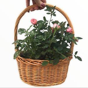 VINTAGE Golden Wicker Planter Basket